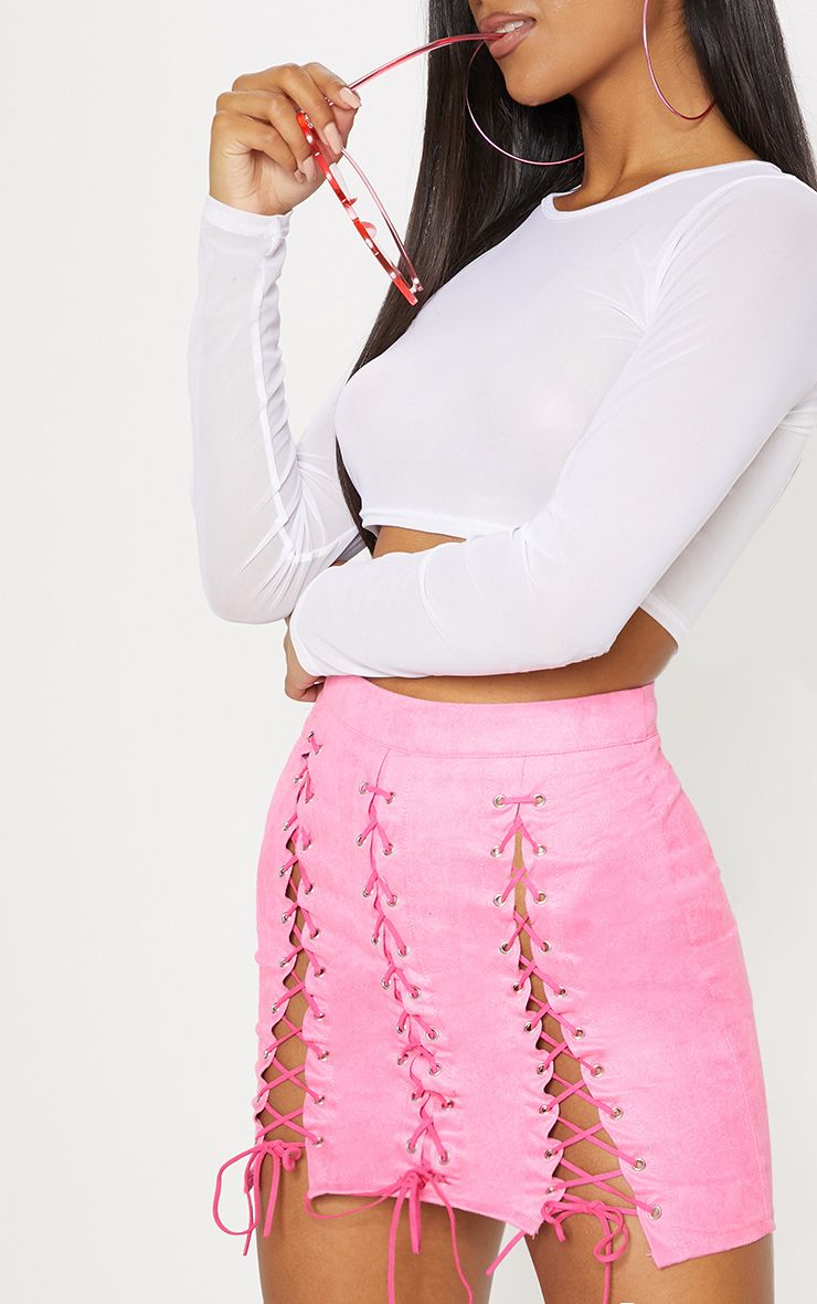 2a2200b44a Hot Pink Faux Suede Lace Up Detail Mini Skirt