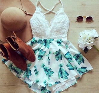 romper jumpsuit dress shorts top white lace green floral occassion girly detail cute formal event tumblr boots brown rider chelsea hat summer spring lacy sunglasses sunny sun flowers summer outfits cute outfits floral romper lace romper