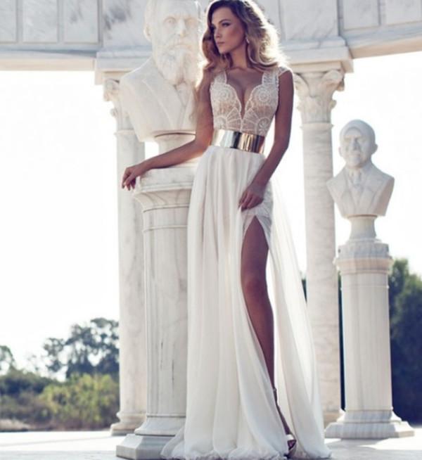 dress beautiful long dress gold sexy