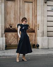 shoes,boots,suede boots,midi dress,denim dress,sleeveless,ruffle,turtleneck,sunglasses,earrings