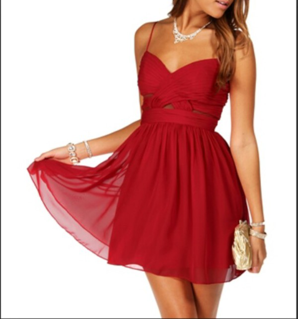 Dress: red dress, homecoming dress, prom dress, spaghetti strap ...