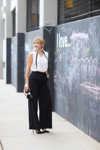 style archives - seersucker and saddles blogger shoes jewels bag button up white top black pants wide-leg pants