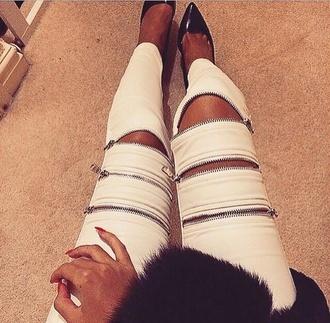 pants zipper skinny pants