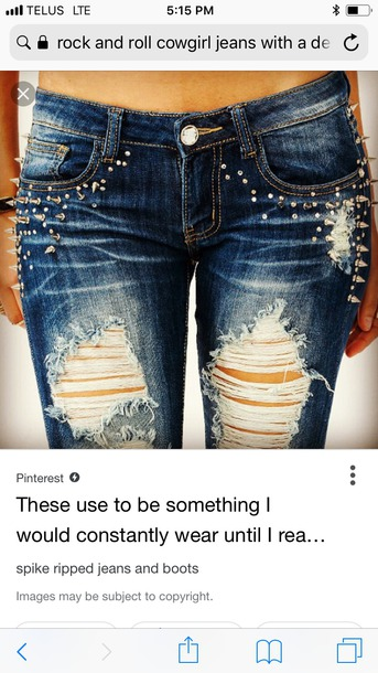 jeans clothes studs ripped jeans