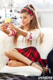 ariana grande,seventeen magazine,headband,hair accessory,sweater,shoes,skirt