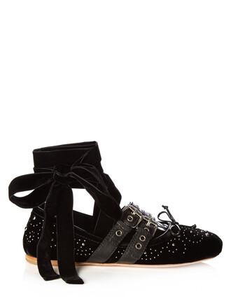 ballet embellished flats ballet flats velvet black shoes