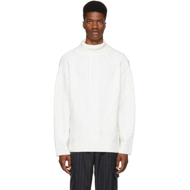 Juun.J White Cable Knit Turtleneck Sweater