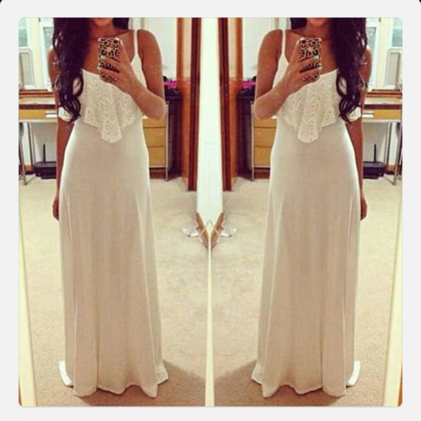Dress Clothes Fashion Long Dress White Dress Girly Ivory Dress Maxi Dress Wedding Dress