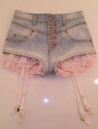 shorts lace pink garter pastel soft grunge weheartit denim shorts kawaii frilly lovely high waisted shorts lolita