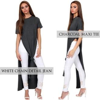 maniere de voir grey top slit dress white jeans long dress slit