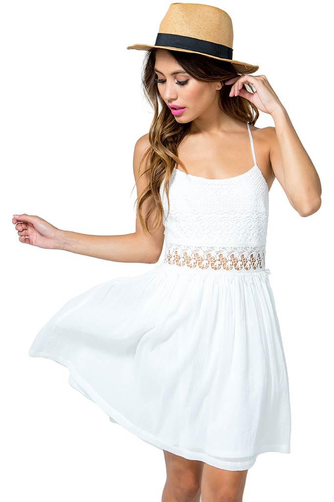 A'GACI Crochet Lovely Lace Flare Dress - DRESSES