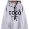 Grey hooded long sleeve coco print sweatshirt - sheinside.com