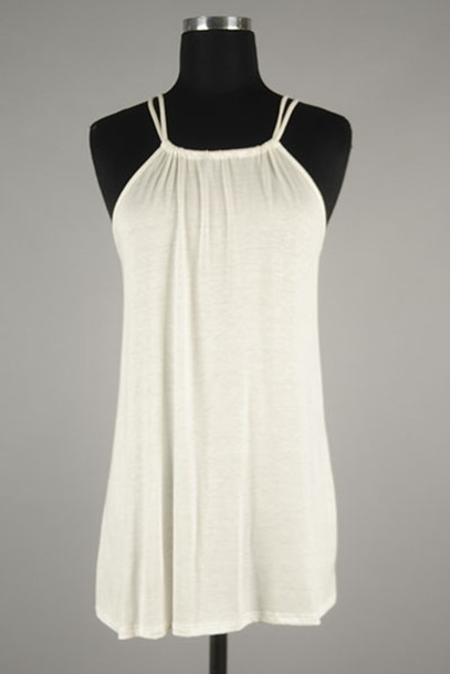 Tank Top Betsy Boos Boutique Gathered Top Back Detail Halter