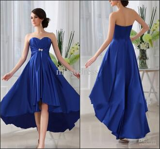 dress royal blue dress high low dress