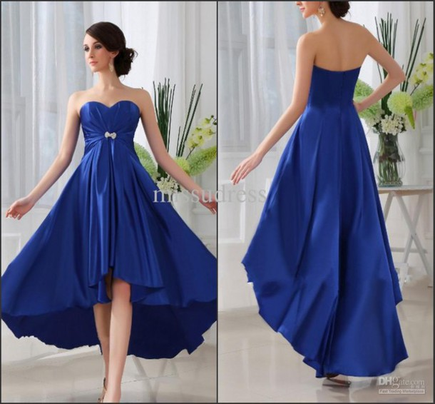 dress royal blue dress high low dress
