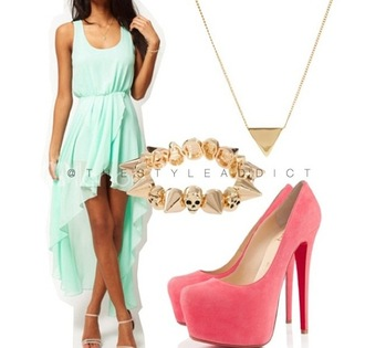 shoes mint cute gorg dress peach gold summer high heels high-low dresses chiffon