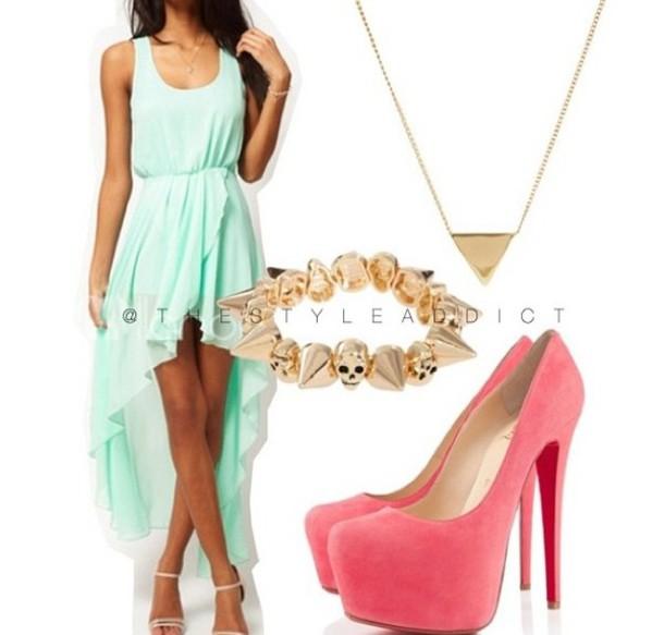 6e07f74395 shoes mint cute gorg dress peach gold summer high heels high-low dresses  chiffon