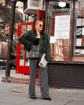 jacket tumblr green jacket fur jacket pants wide-leg pants stripes striped pants top black top bag black bag sunglasses