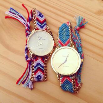 jewels watch friendship blue pink red purple string braided gold cute fun friend friends love time