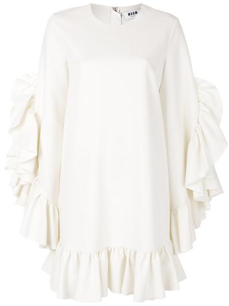 MSGM dress shift dress ruffle women spandex white