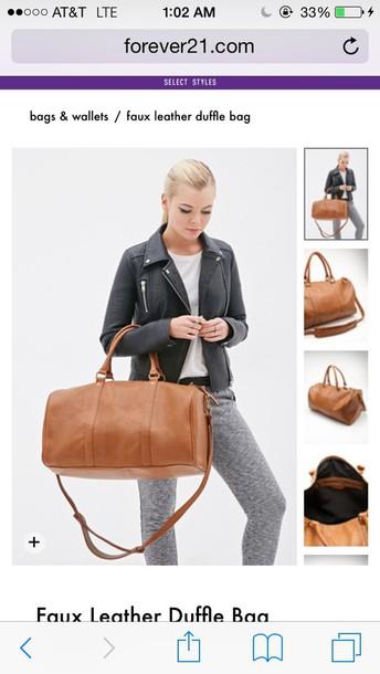 bag leather tan duffle bag travel bag leather bag