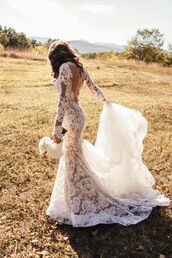 dress,wedding dress,white dress,white,lace,lace dress,summer,open back,bride,wedding,backless