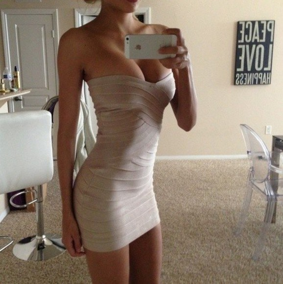 sexy dress bandage dress fashion party dress weheartit strapless nude champagne iphone skinny girl urgant
