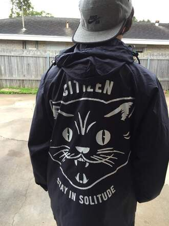 jacket hat cats quote on it black white nike