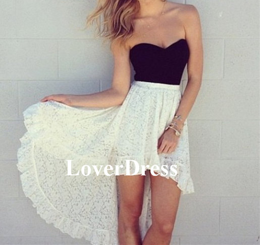 White and black prom dress lace prom dress high low door loverdress