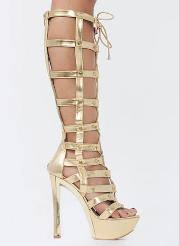 Hot Stud Metallic Gladiator Heels $66.30 in GOLD SILVER - Restocks ...