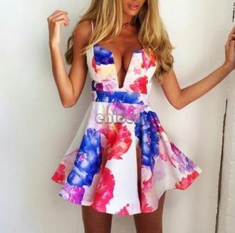 dress floral mini v neck