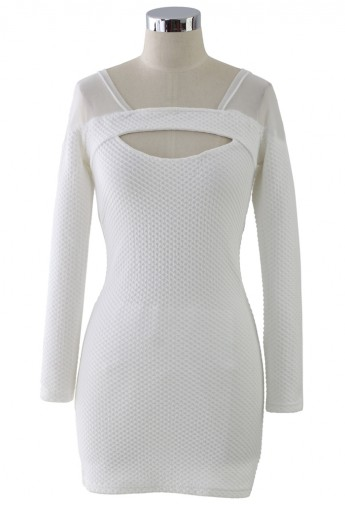 White Mesh-Paneled Body-con Dress - Retro, Indie and Unique Fashion