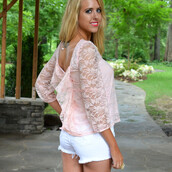 top,feminine,bow back,bow back top,pink lace top,flirty top,lace bow