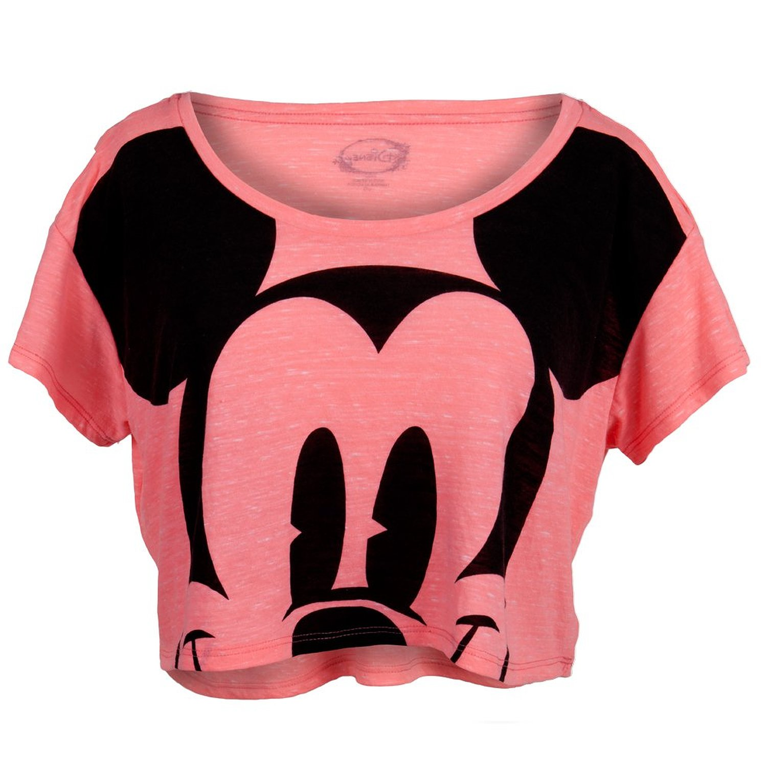 Amazon.com: Mickey Mouse - Giant Face Juniors Scoop Neck Half T-Shirt: Clothing