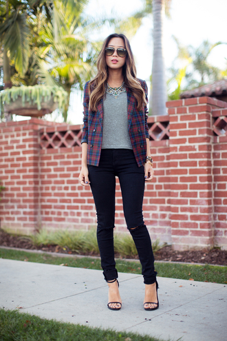 song of style jeans tank top jacket t-shirt shoes jewels date outfit