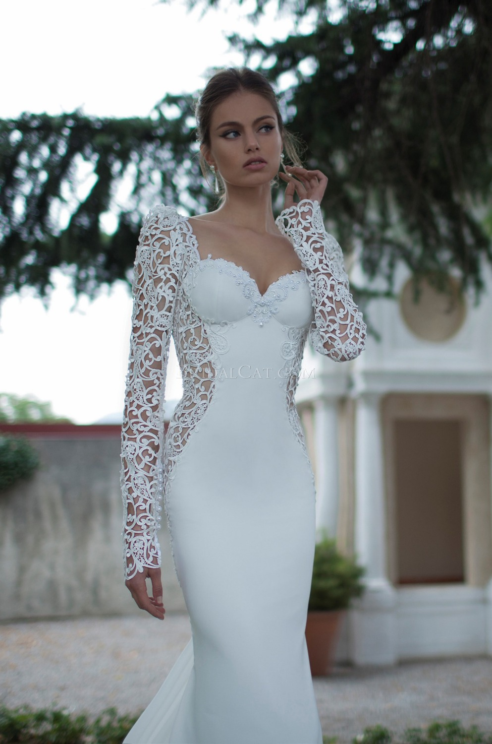 Buy lebanon designer style cap sleeve for Tight fitted mermaid wedding dresses
