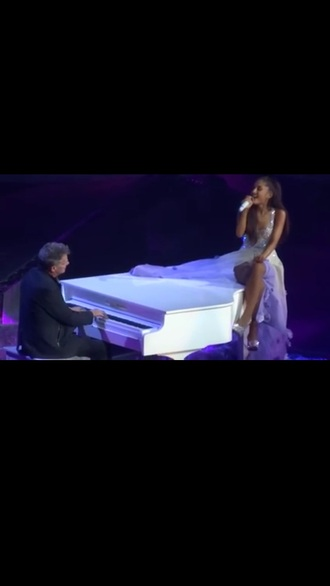 dress sparkly ariana grande white dress