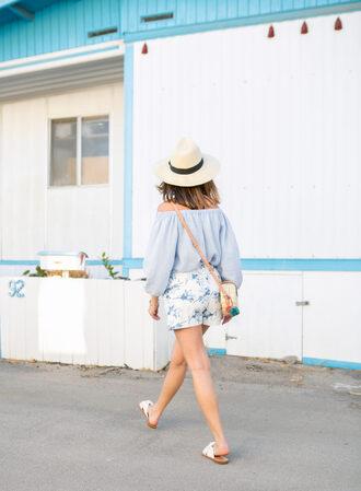 top hat tumblr blue top off the shoulder off the shoulder top shorts printed shorts sandals slide shoes white shoes sun hat shoes bag