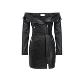 dress,black dress,pleather,leather jacket,black,off the shoulder,mini dress,zip,long sleeve dress