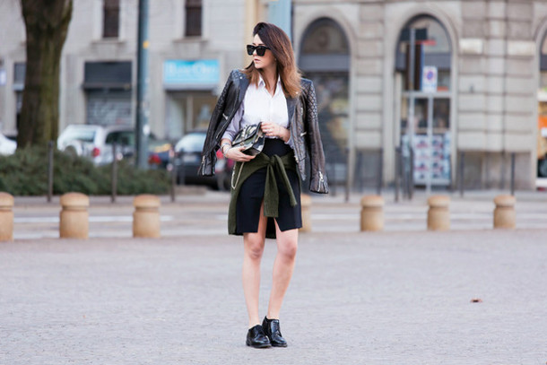 scent of obsession blogger leather jacket jacket shirt skirt bag shoes