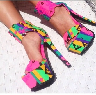 pink shoes bright colored high heels aztec tribal pattern
