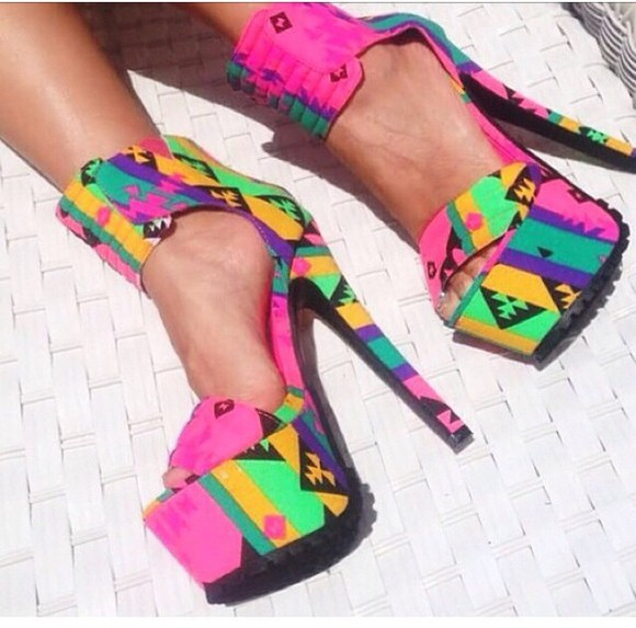 aztec tribal pattern shoes high heels pink bright colored