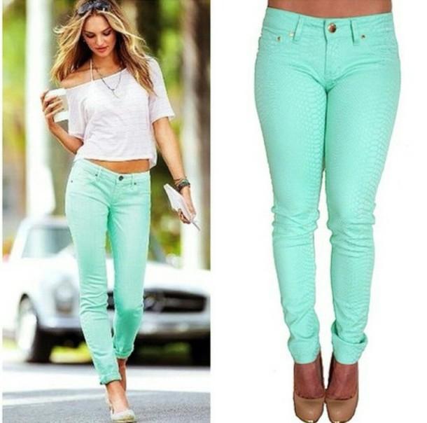 - Mint Pastel Skinny Jeans