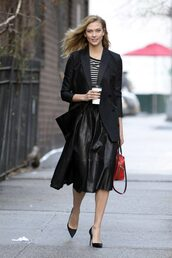 top,skirt,midi skirt,stripes,karlie kloss,model off-duty,streetstyle,fall outfits,jacket