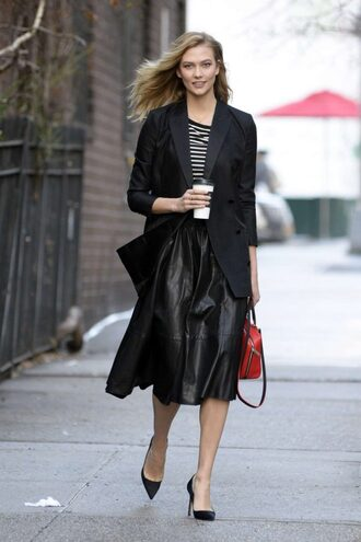 top skirt midi skirt stripes karlie kloss model off-duty streetstyle fall outfits jacket