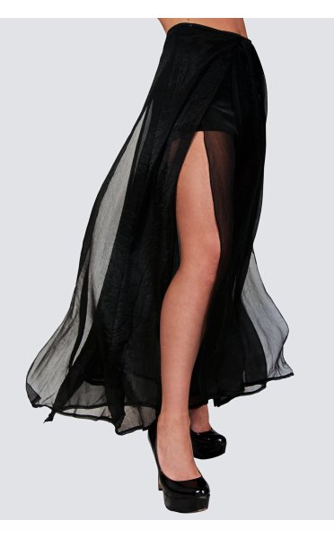 Chiffon Double Side Split Maxi Skirt In Black - from The Fashion ...