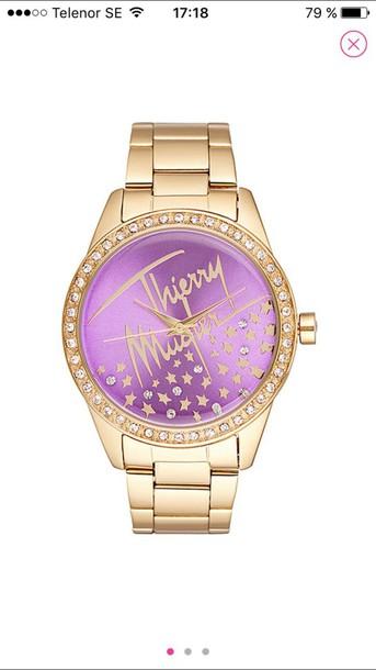 thierry  mugler watch gold watch jewels