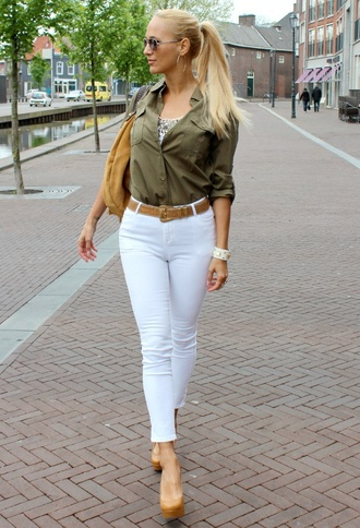 blouse sequins army green top shirt white jeans jeans high heels nude nude high heels hoop earrings earrings jewels tank top blonde hair sunglasses purse shoulder bag rayban bracelets gold gold sequins style capri jeans capri capri pants capri oants shoes bag belt statement bracelet jewelry gold jewelry gold earrings big earrings