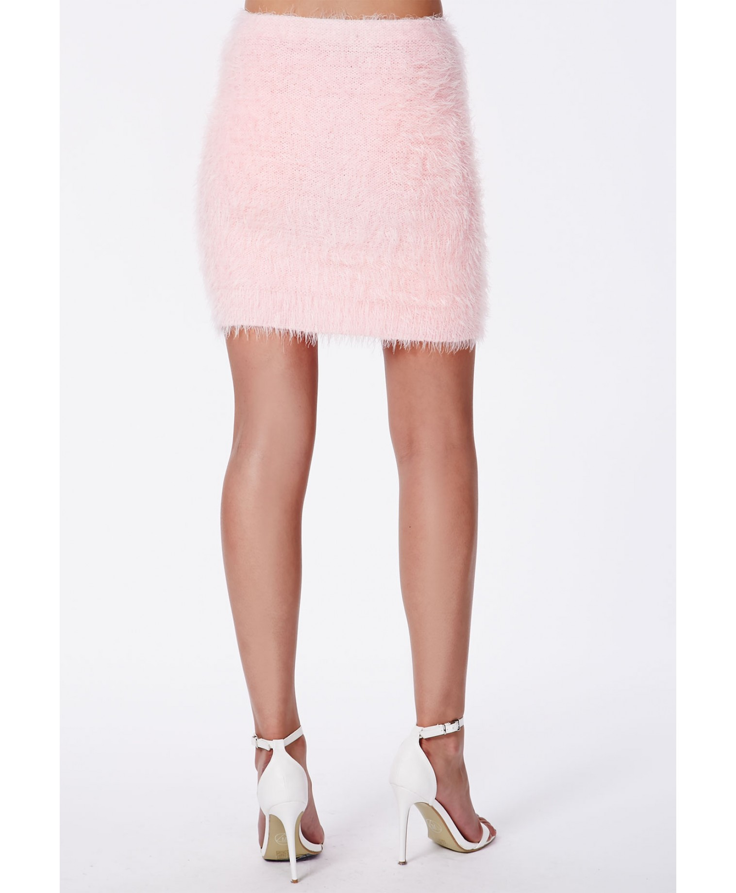 Ashlyn Fluffy Knit Mini Skirt Baby Pink