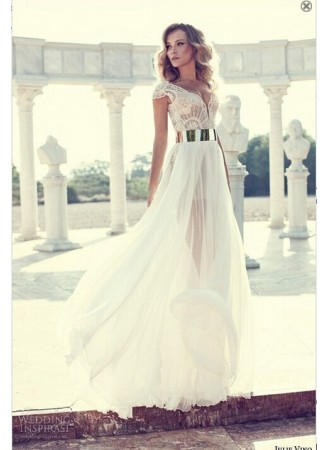 Discount 2014 sexy prom dresses new sheer cap sleeves v neck chiffon lace appliques a